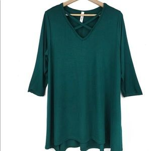 Hi Low Hem Knit Dress Forest Green Bamboo  XL